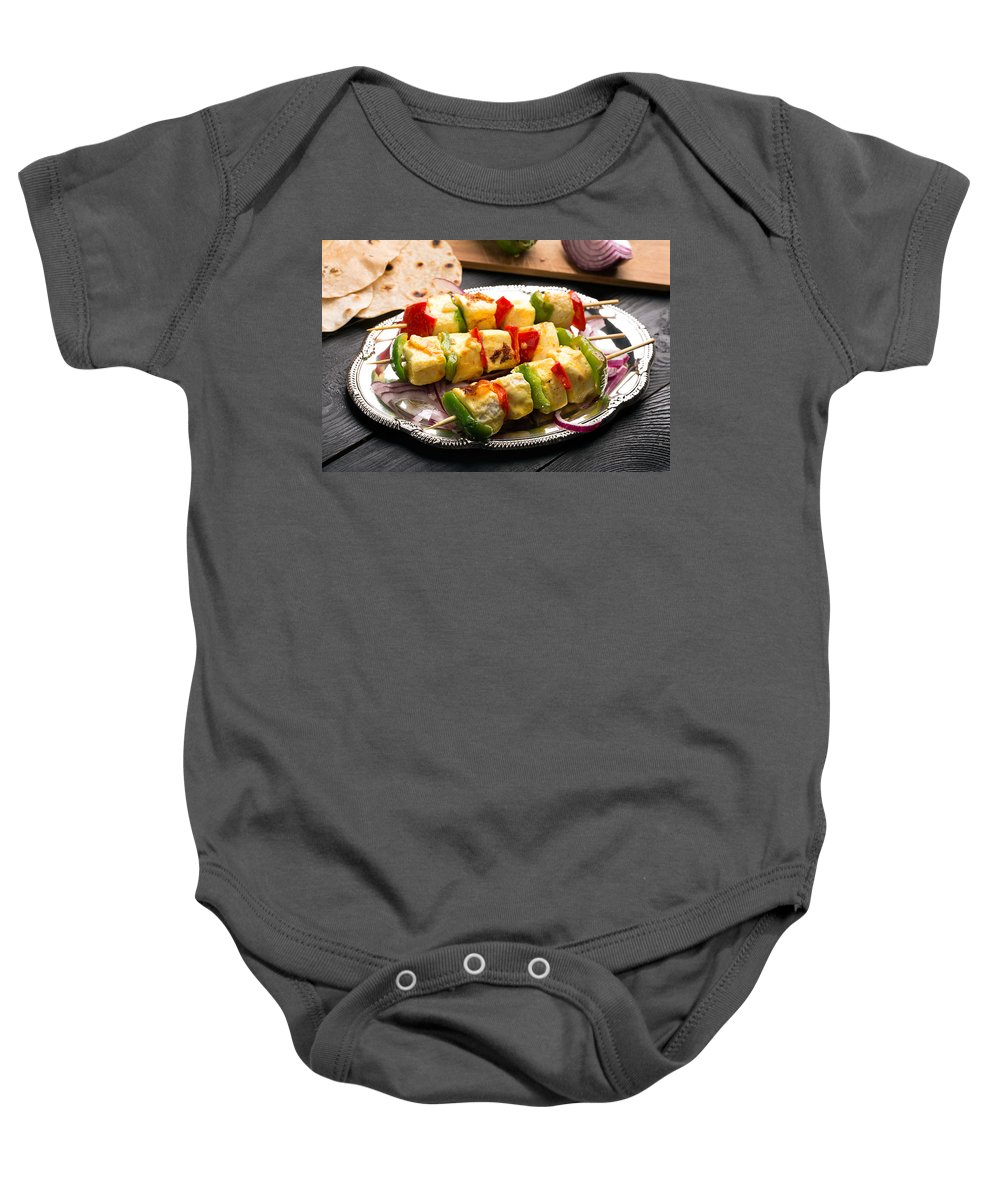 Vadim Goodwill Baby Onesie featuring the photograph Indian Paneer Curd Cheese by Vadim Goodwill