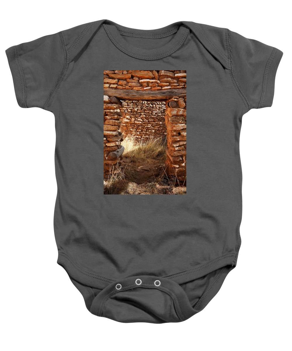 New Mexico Baby Onesie featuring the photograph Indian Ruins Doorway by Matt Suess