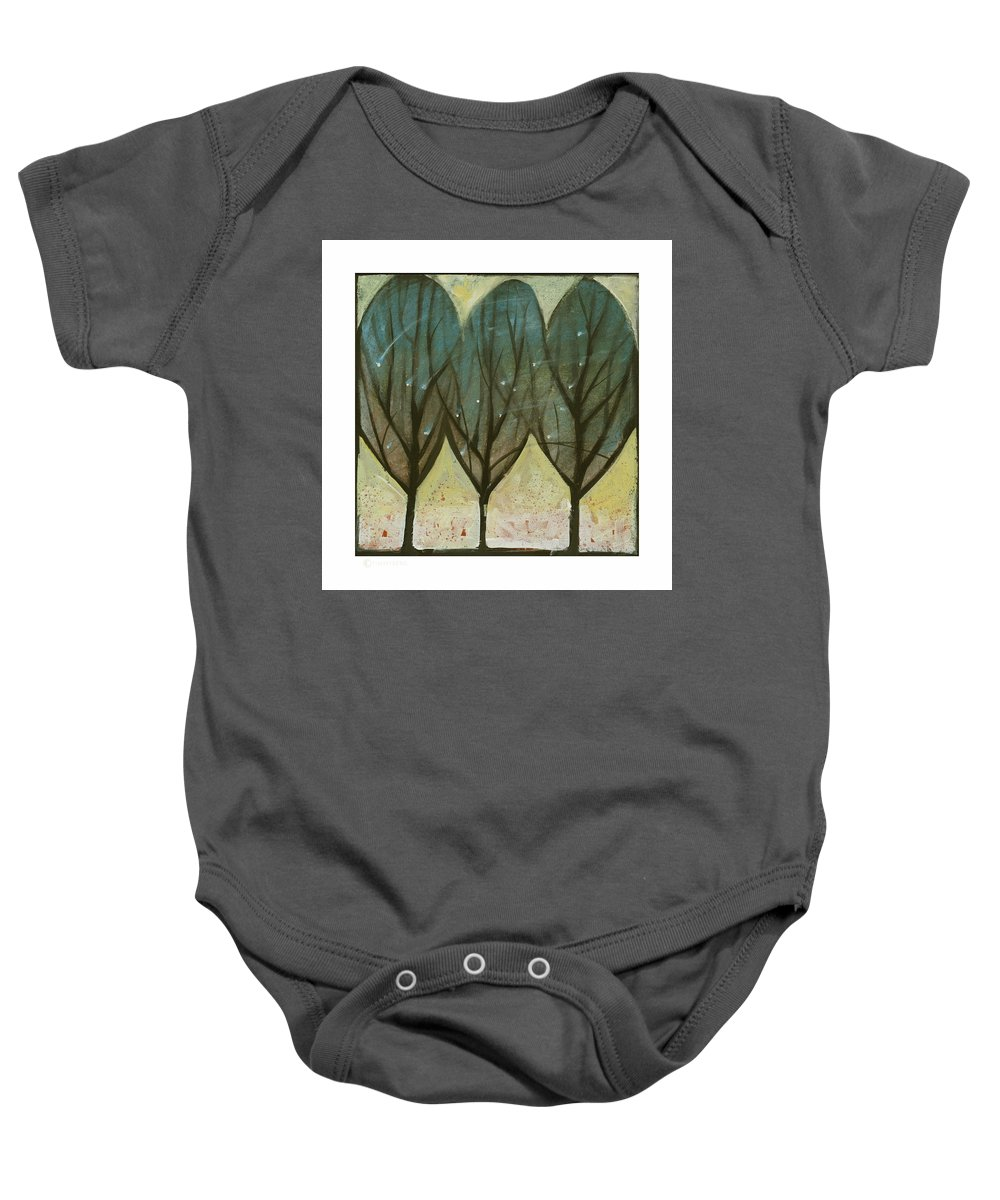 Trees Baby Onesie featuring the painting Indian Summer Snow by Tim Nyberg