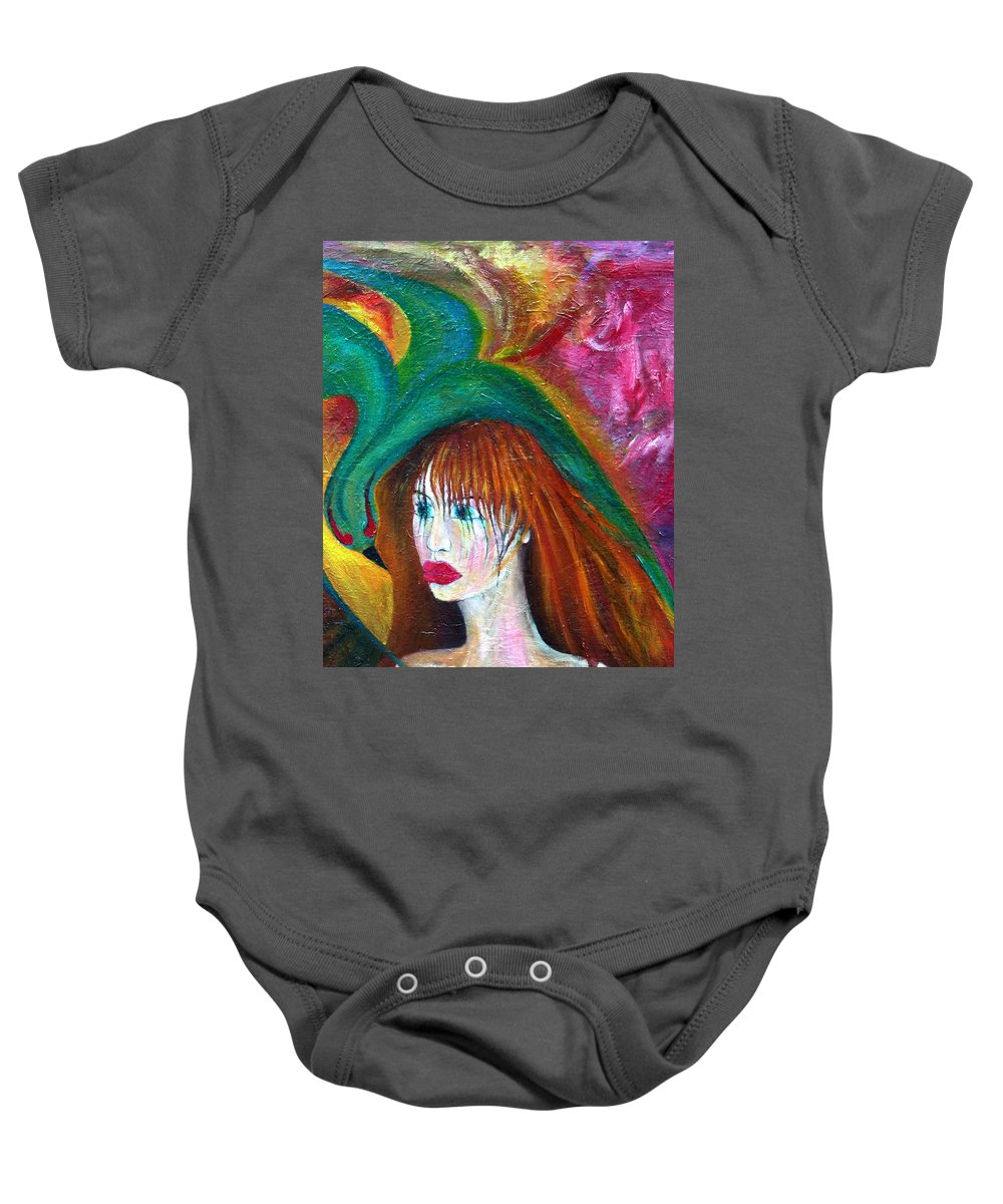 Imagination Baby Onesie featuring the painting Indifference by Wojtek Kowalski