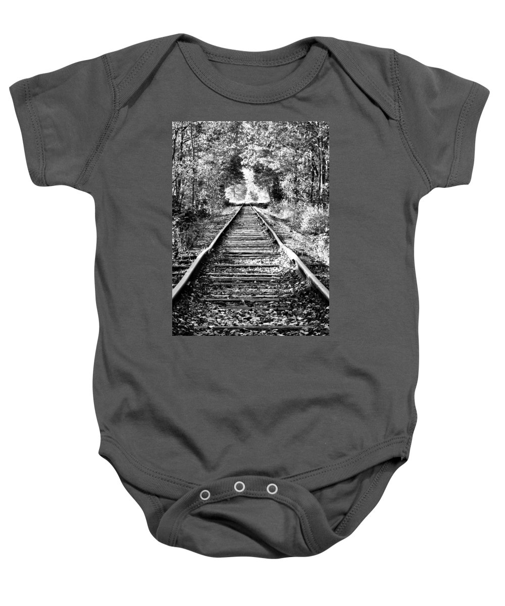 Foliage Baby Onesie featuring the photograph Infinity Train by Greg Fortier