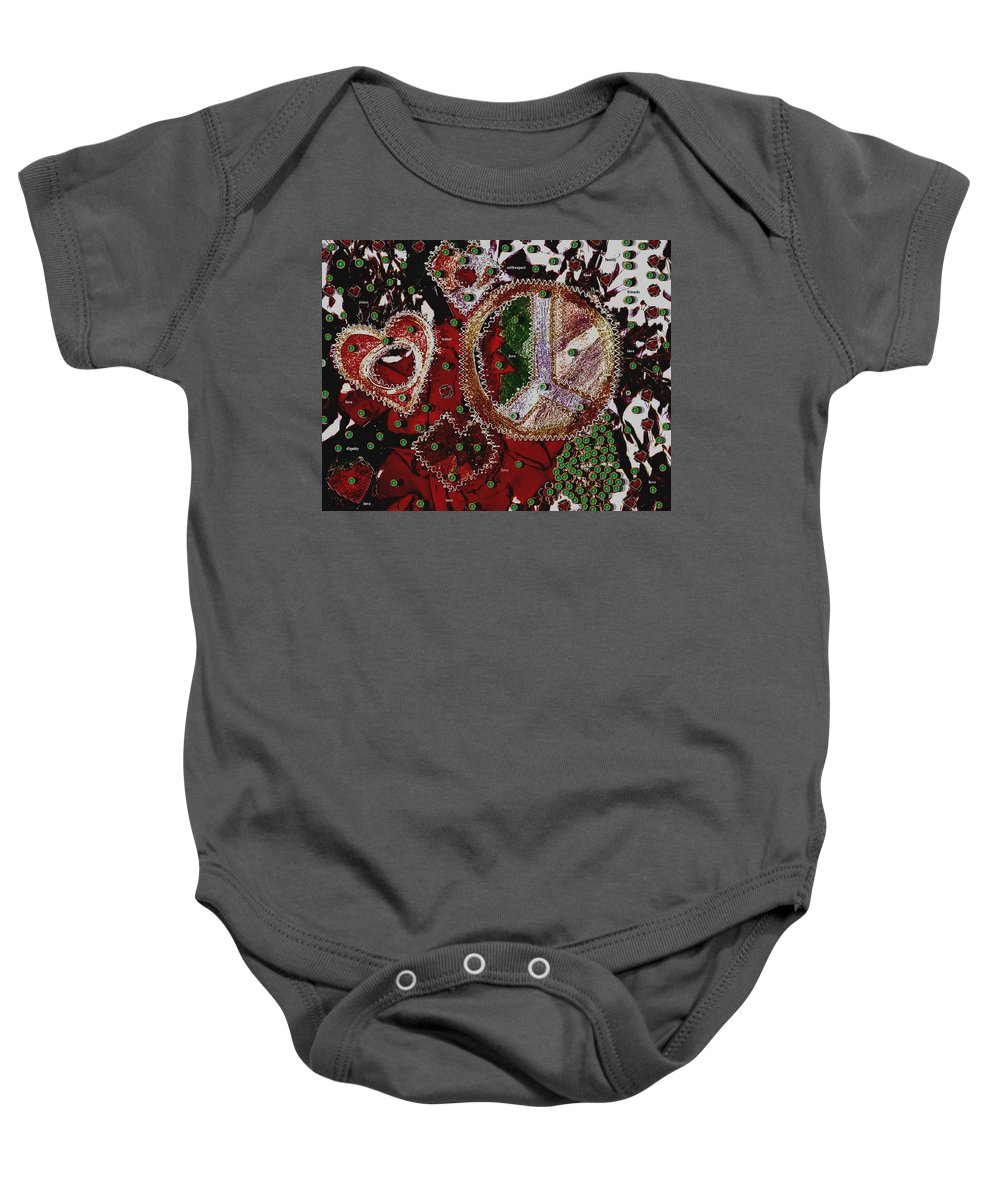 Hearts Baby Onesie featuring the mixed media Ingredients For A Good Life by Pepita Selles