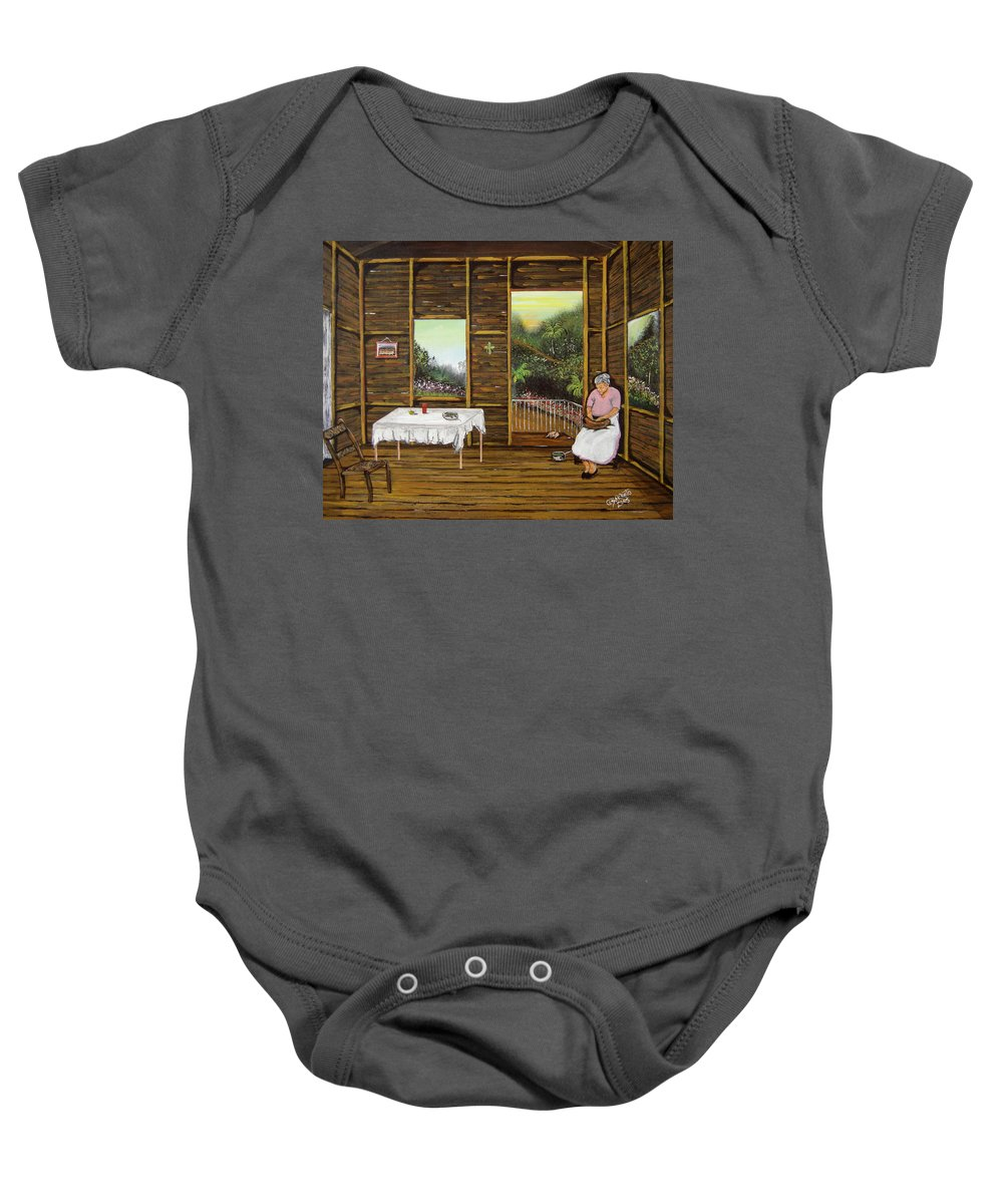 Puerto Rico Wooden Home Baby Onesie featuring the painting Inside Wooden Home by Gloria E Barreto-Rodriguez