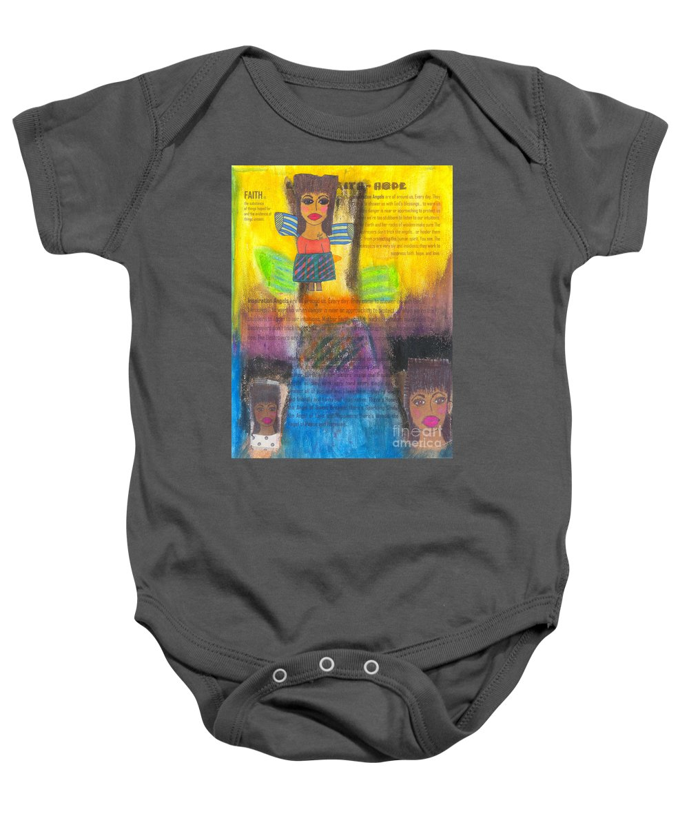Angels Baby Onesie featuring the mixed media Inspiration Angels by Angela L Walker