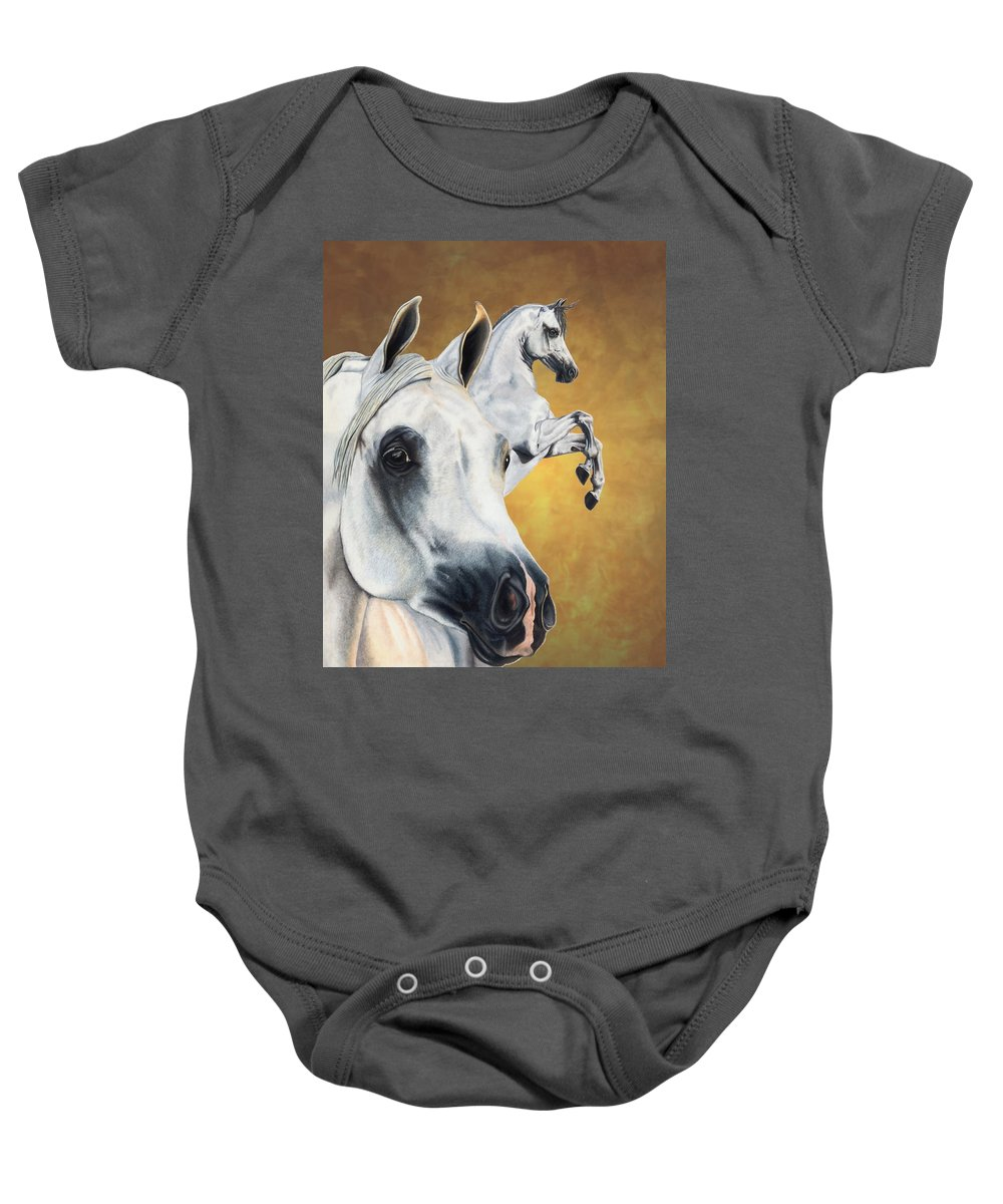 Horse Baby Onesie featuring the drawing Inspiration by Kristen Wesch