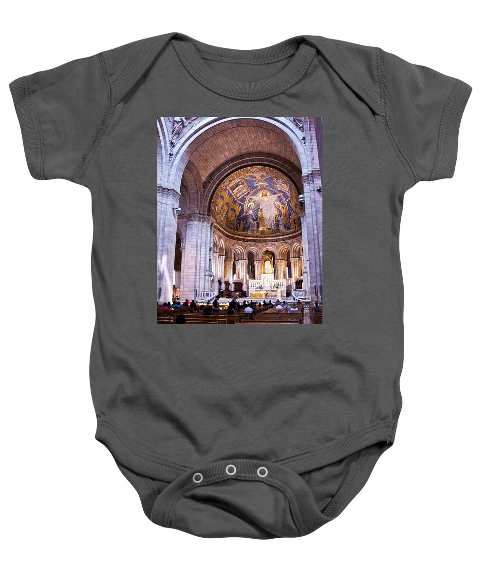France Baby Onesie featuring the photograph Interior Sacre Coeur Basilica Paris France by Jon Berghoff