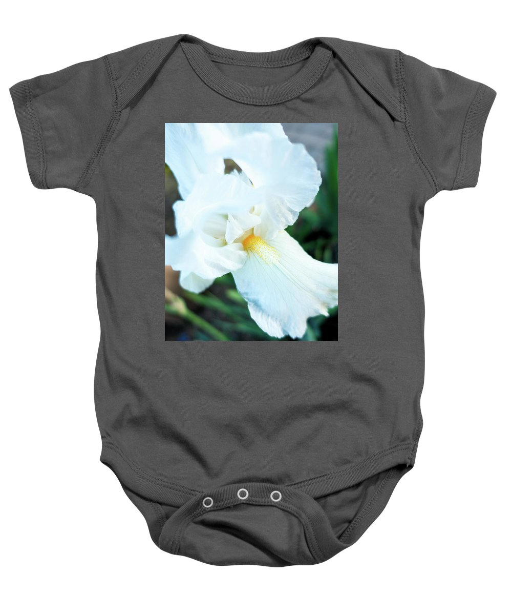 Iris Baby Onesie featuring the photograph Intimate Iris by Marianne Donahoe
