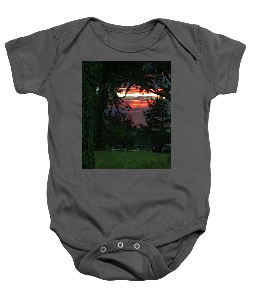 Landscape Baby Onesie featuring the mixed media Into the clearing by Steve Karol