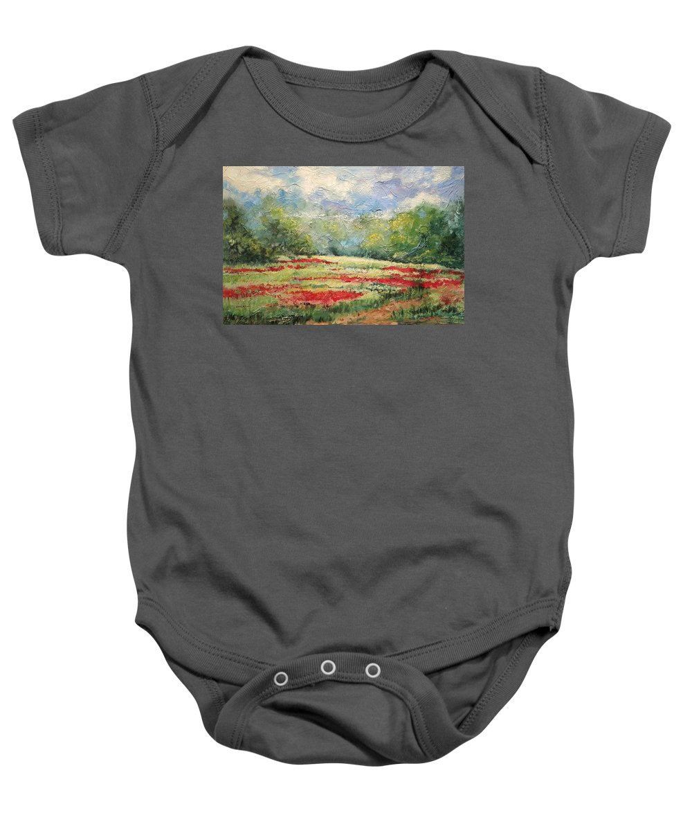 Clover Pastures Baby Onesie featuring the painting Into the Clover by Ginger Concepcion