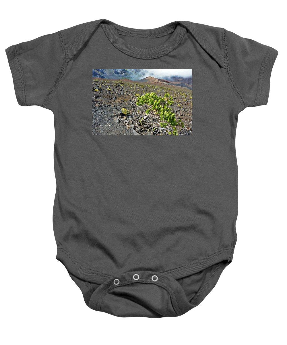 Haleakala Baby Onesie featuring the photograph Into The Crater by Heidi Fickinger