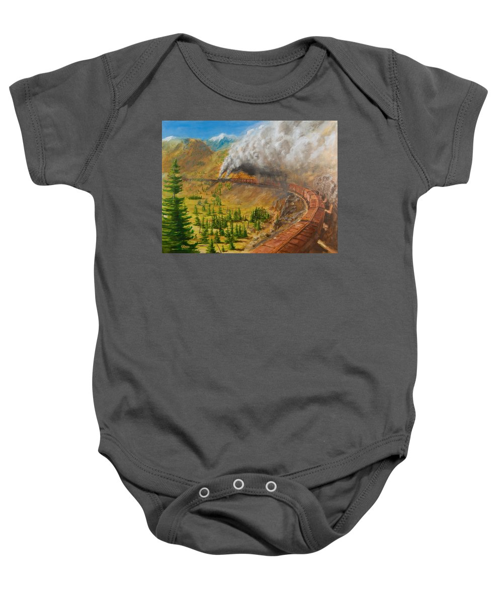 Train Baby Onesie featuring the painting Into The Front Range by Christopher Jenkins
