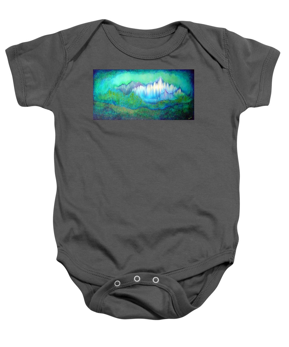 Blue Baby Onesie featuring the painting Into The Ocean by Shadia Derbyshire