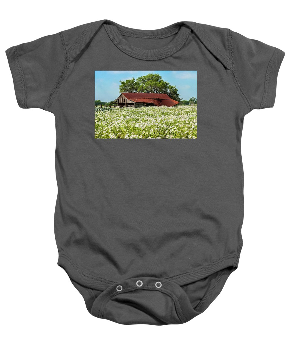 Abandoned Baby Onesie featuring the photograph Poppy Invasion In Hillcountry-texas by Usha Peddamatham