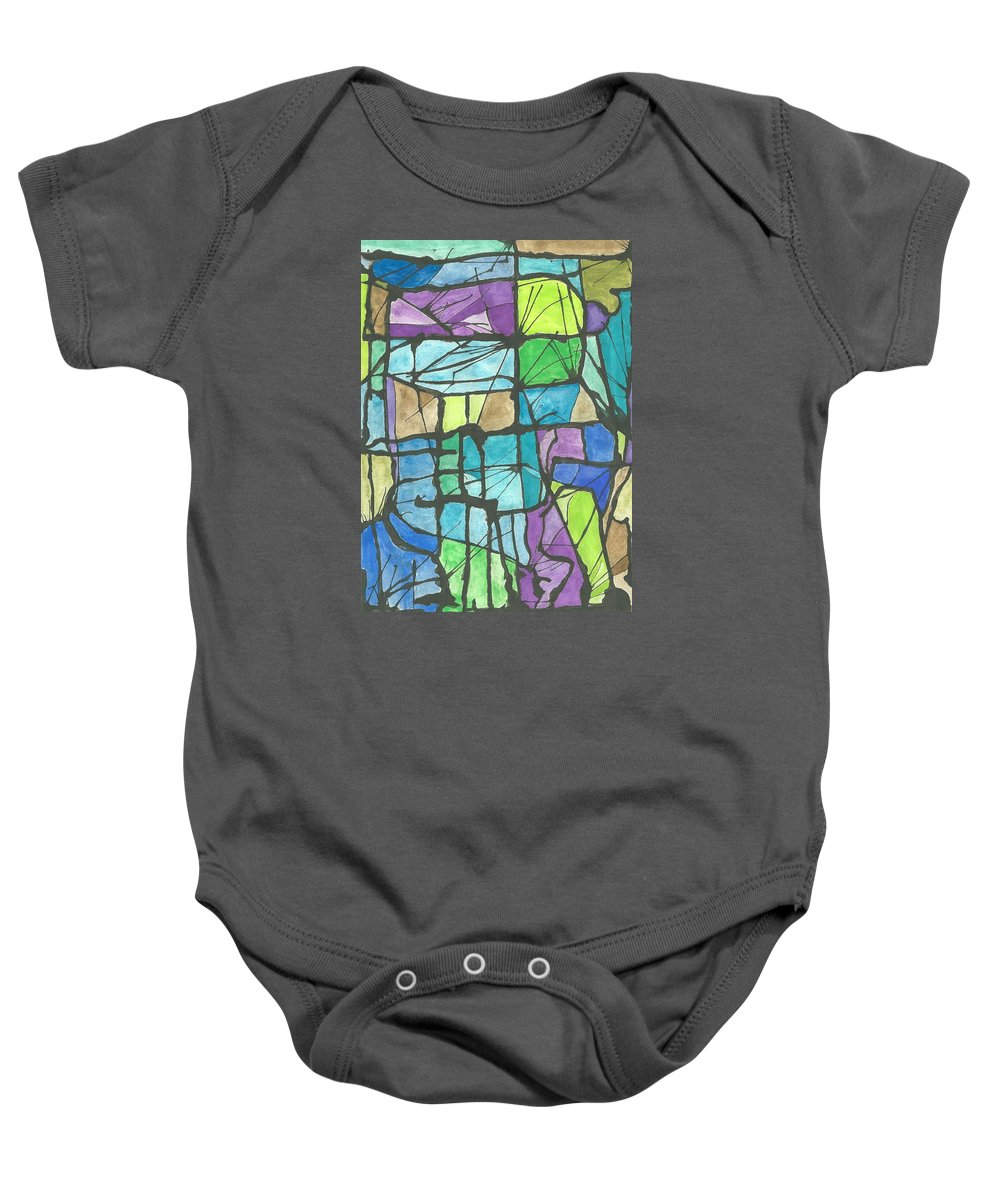 Abstract Watercolor Baby Onesie featuring the painting Invierno Winter by Ivonne Sequera