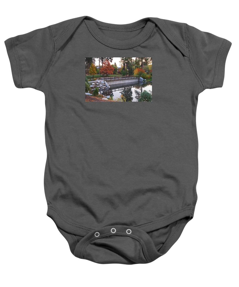 Path Baby Onesie featuring the photograph Invitation To Stroll by Mike and Sharon Mathews