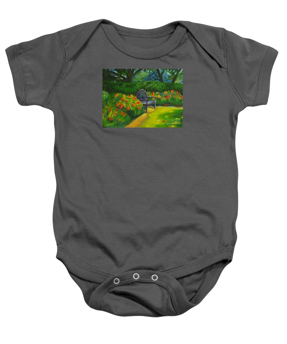 Landscape Baby Onesie featuring the painting Inviting by Milagros Palmieri