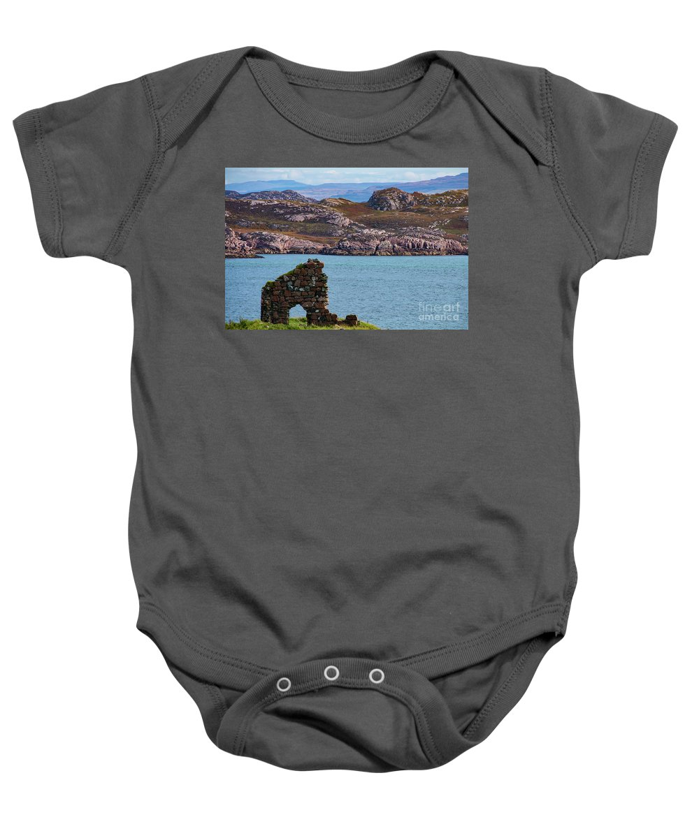 Isle Of Iona Ruins Baby Onesie featuring the photograph Iona Ruins And Mull Hills by Bob Phillips