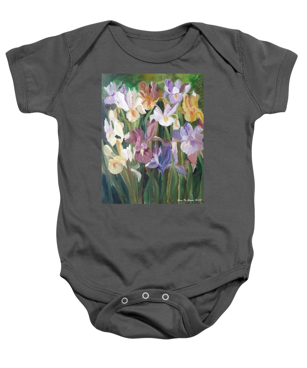 Irises Baby Onesie featuring the painting Irises by Gina De Gorna