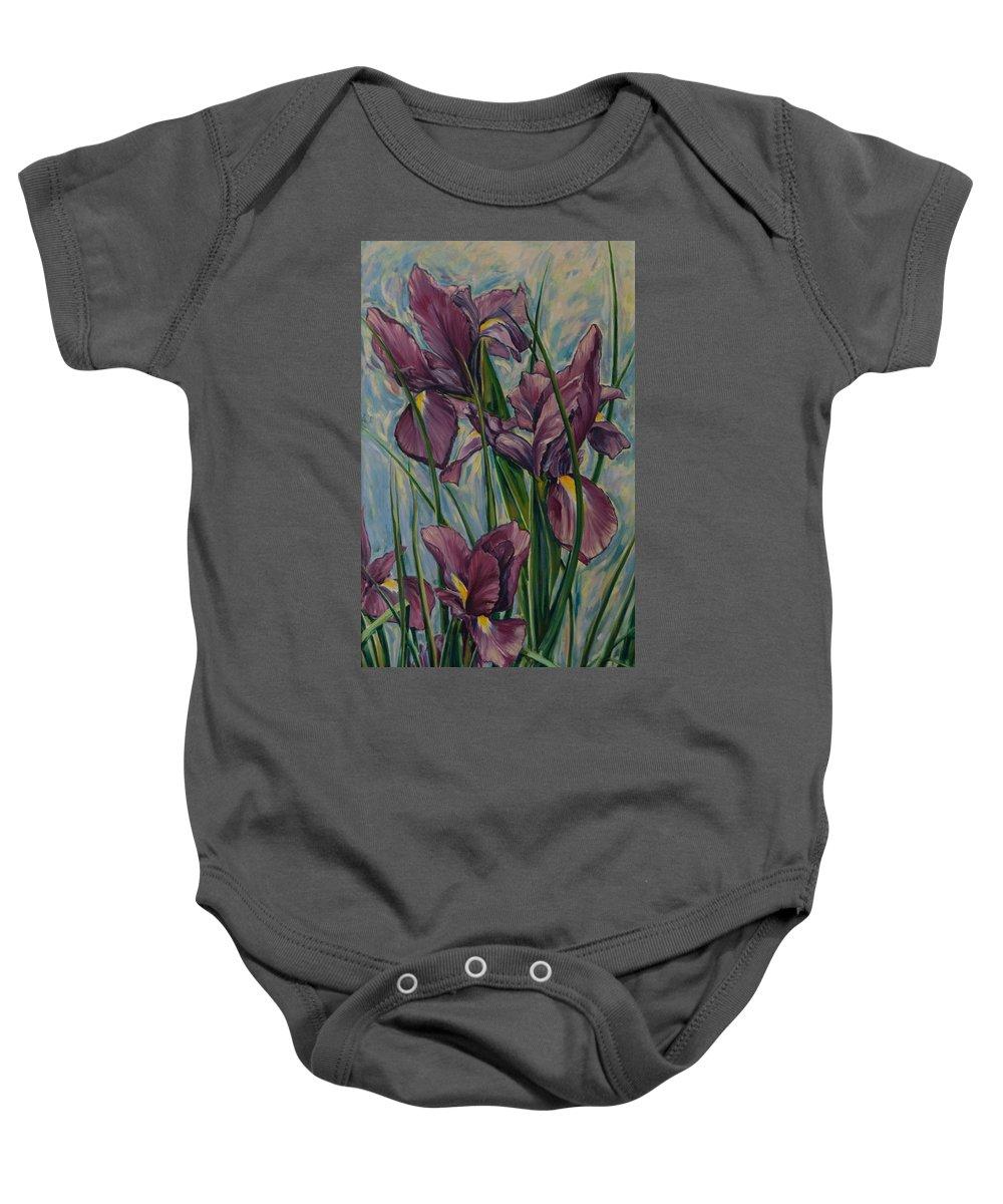 Flowers Baby Onesie featuring the painting Irises by Rick Nederlof