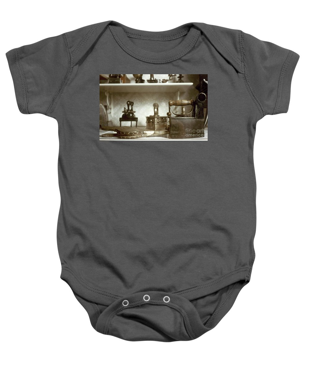 -domestic- Baby Onesie featuring the photograph Iron, 19th Century by Granger