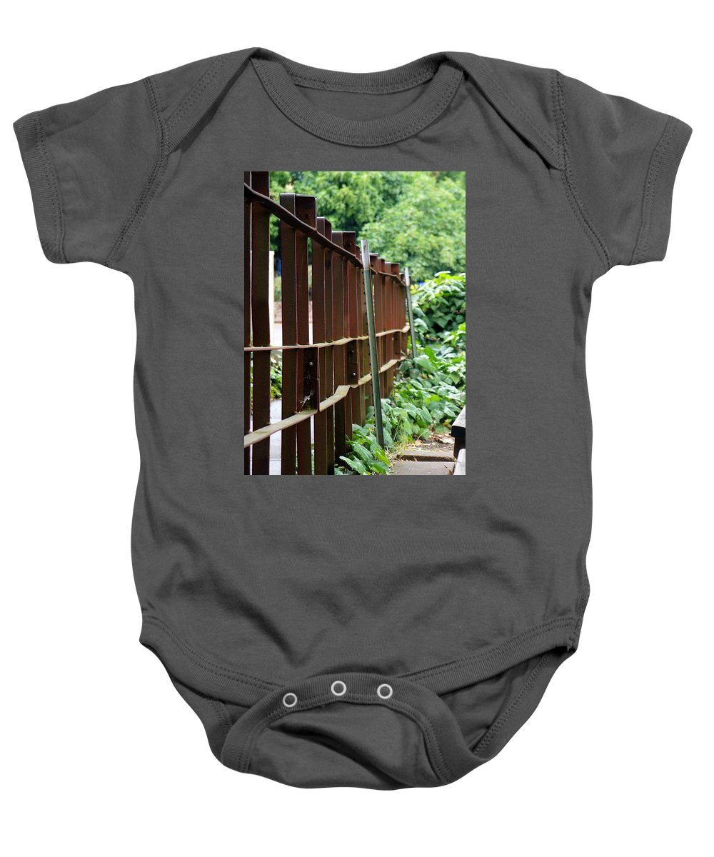 Landscape Baby Onesie featuring the photograph Iron Fence by Janette Legg