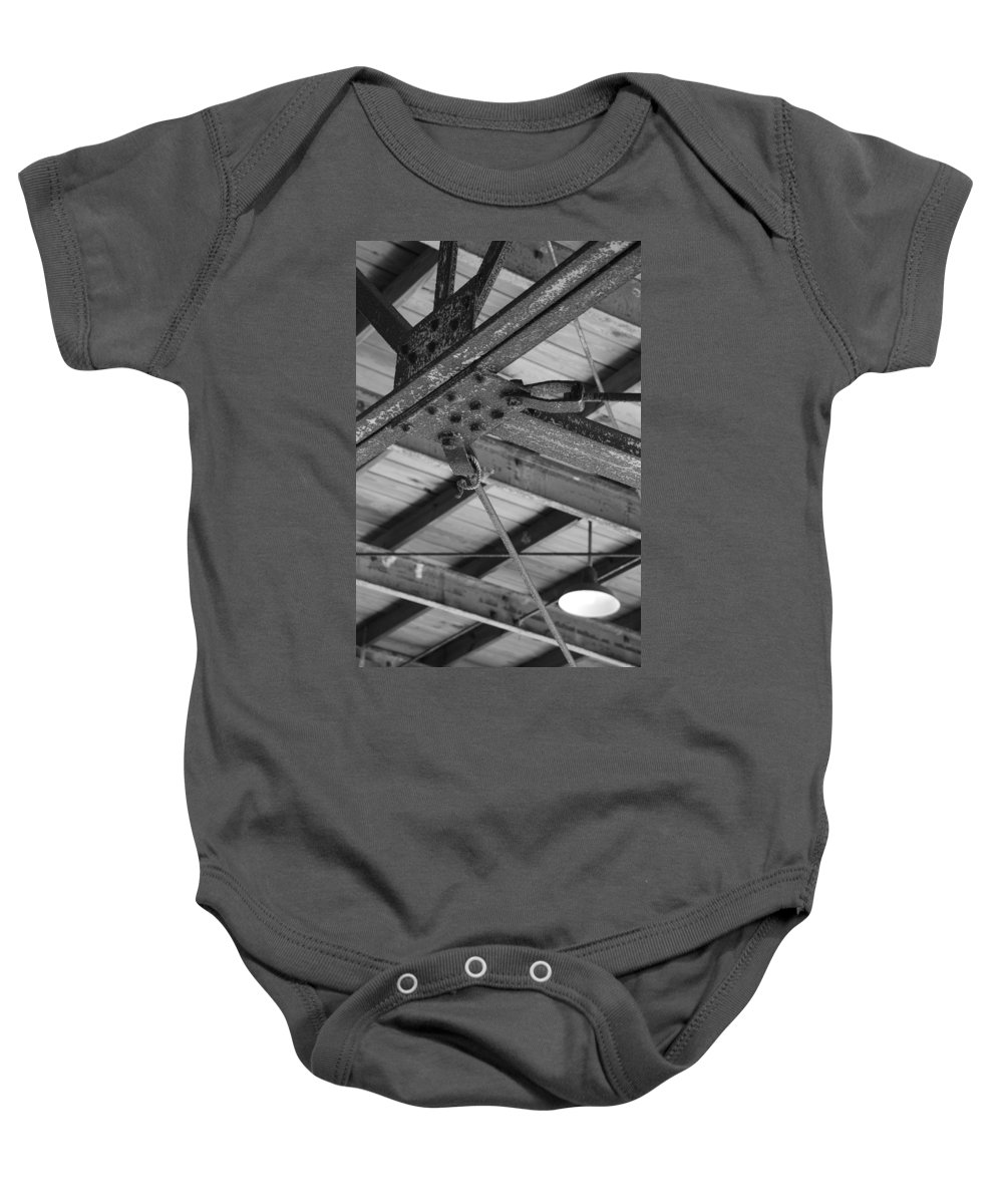 Black And White Baby Onesie featuring the photograph Iron Roof by Rob Hans