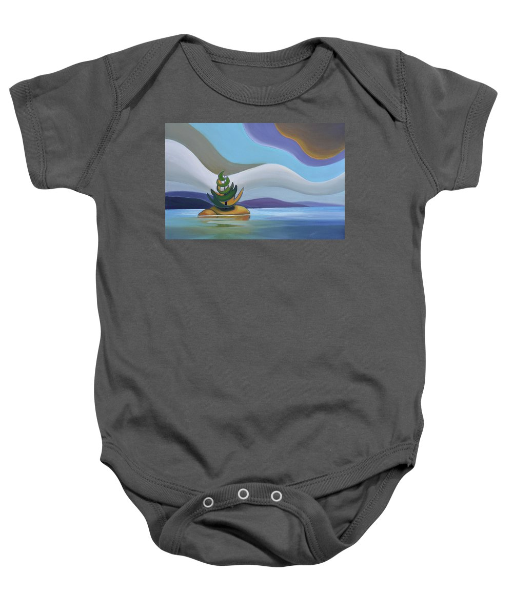 Group Of Seven Baby Onesie featuring the painting Island by Barbel Smith