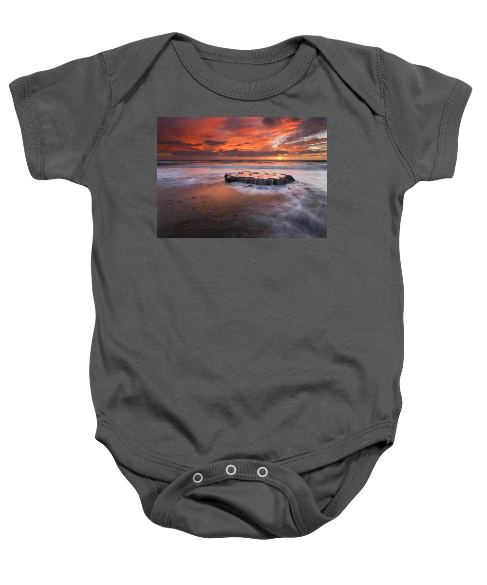 Island Baby Onesie featuring the photograph Island In The Storm by Mike Dawson