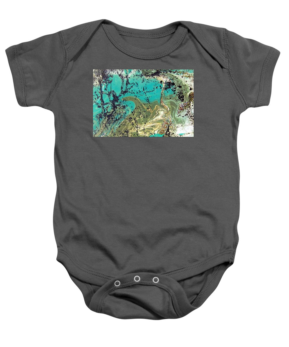 Island Baby Onesie featuring the painting Island Lagoon by Dawn Hough Sebaugh
