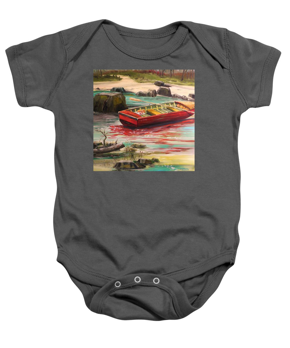 Boat Baby Onesie featuring the painting Island Shade by John Williams