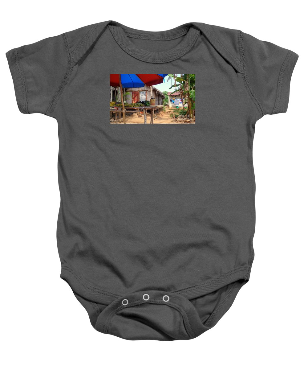 Nosy Be Baby Onesie featuring the photograph Island Street Scene by John Potts