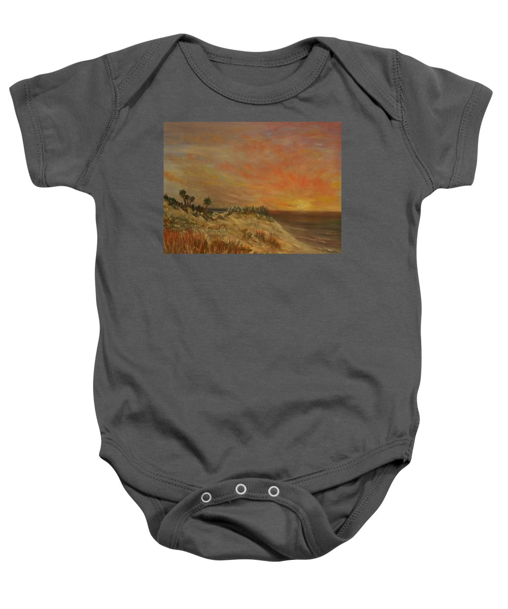 Sunset;beach;ocean;palm Trees Baby Onesie featuring the painting Island Sunset by Ben Kiger