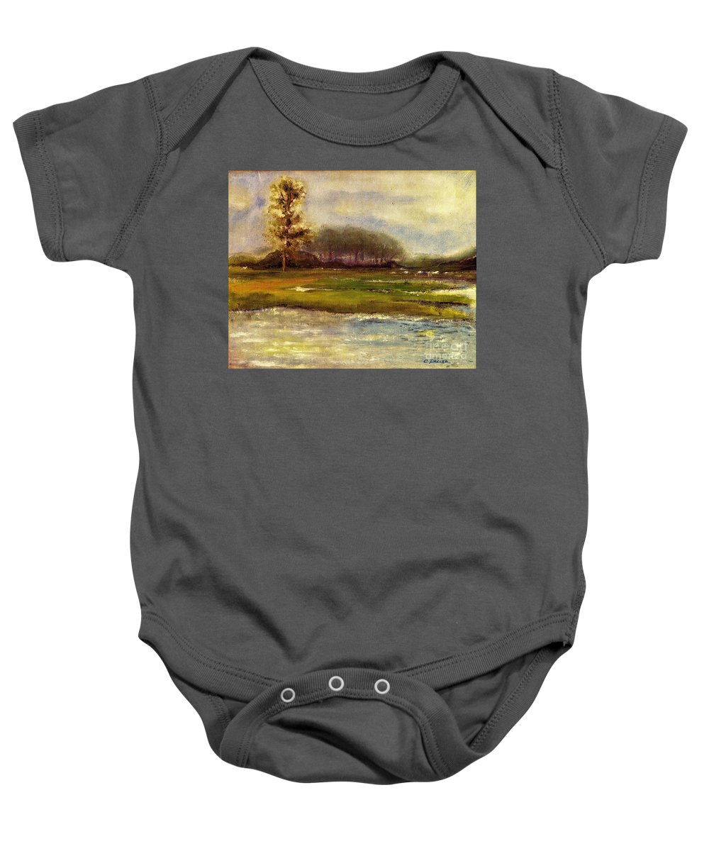 River Baby Onesie featuring the painting Islands On The River by Carliss Prosser
