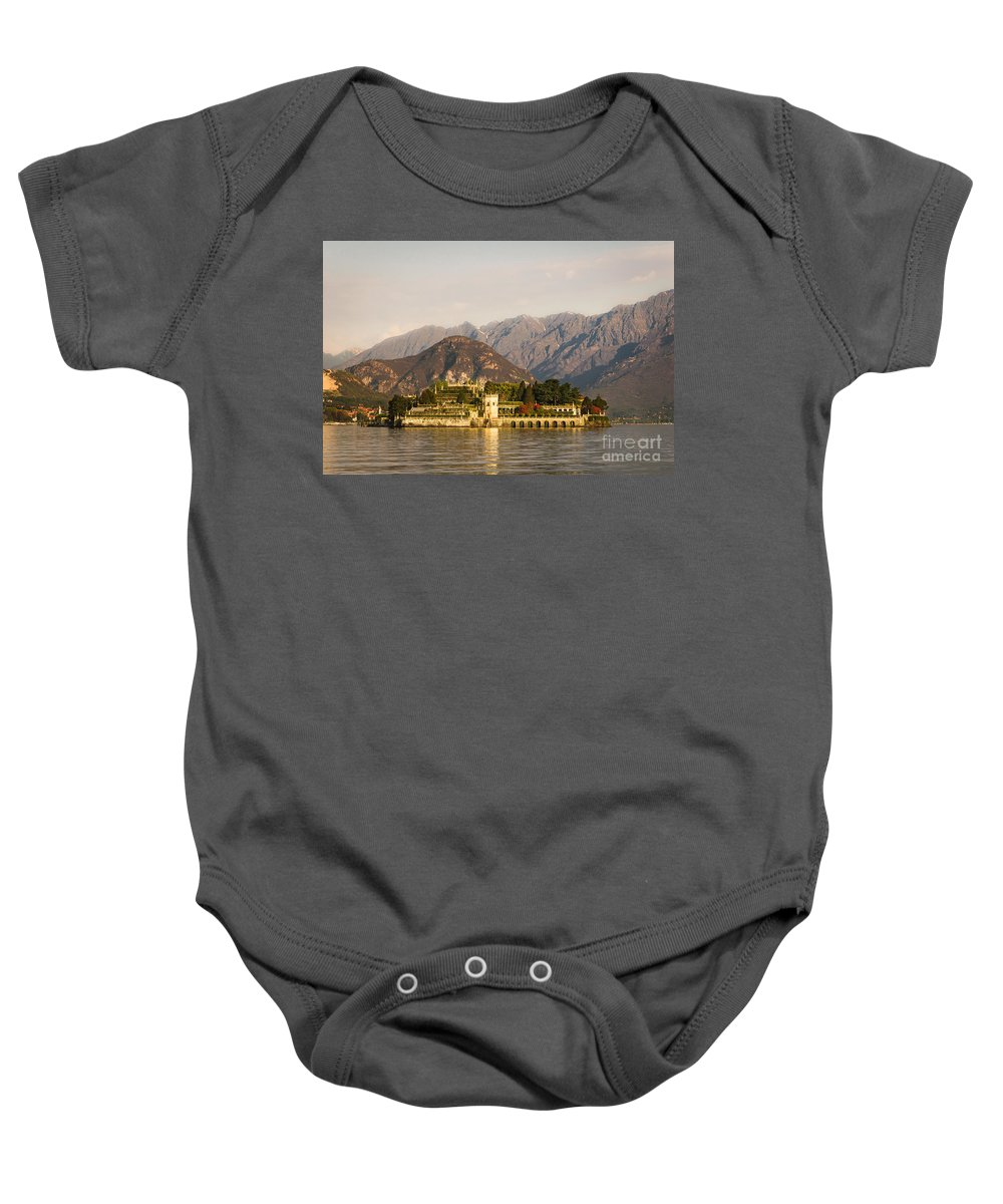 Isola Bella Baby Onesie featuring the photograph lake Maggiore, Borromean island, Piedmont Italy by Marco Arduino