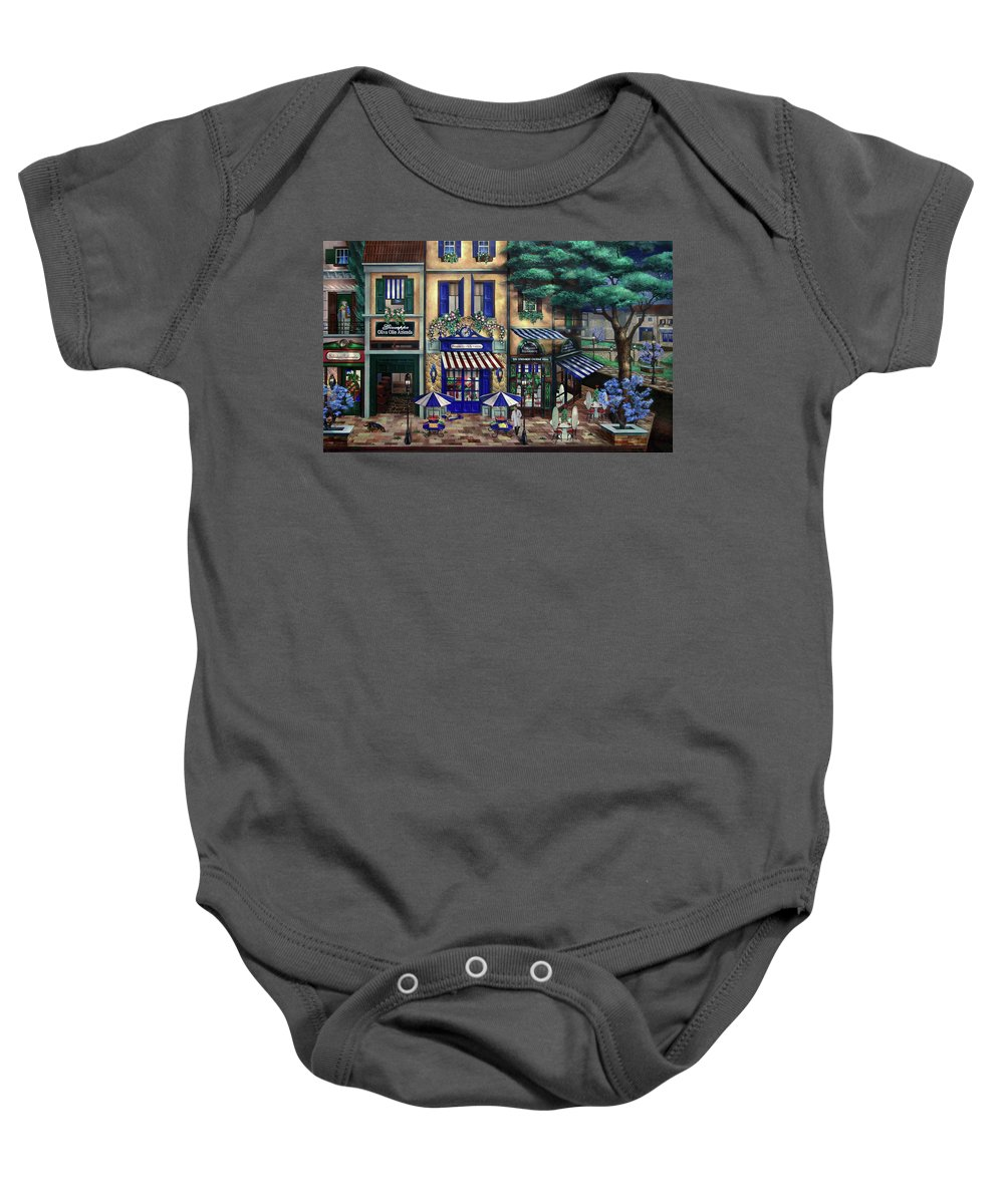 Italian Baby Onesie featuring the mixed media Italian Cafe by Curtiss Shaffer
