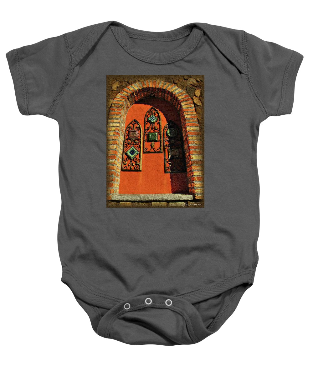 Window Baby Onesie featuring the digital art Italian Window by Joan Minchak