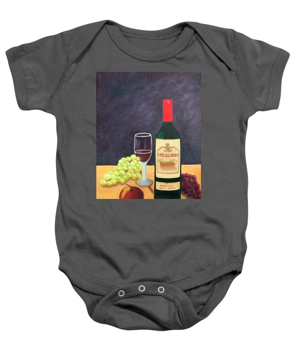 Still Life Baby Onesie featuring the painting Italian Wine And Fruit by Ruth Housley