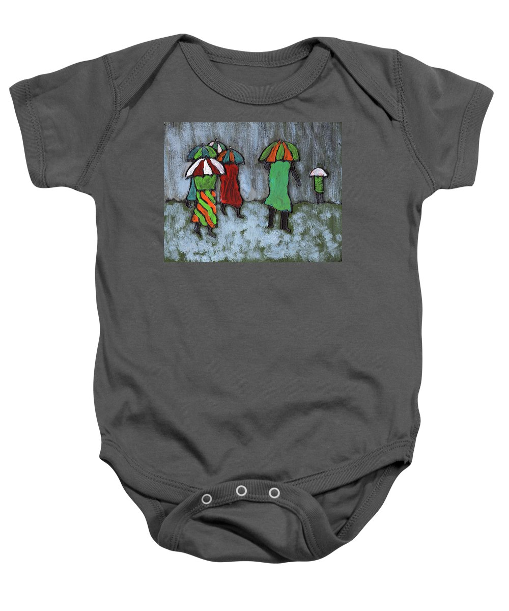 Etnic Baby Onesie featuring the painting It's Raining It's Pouring by Wayne Potrafka