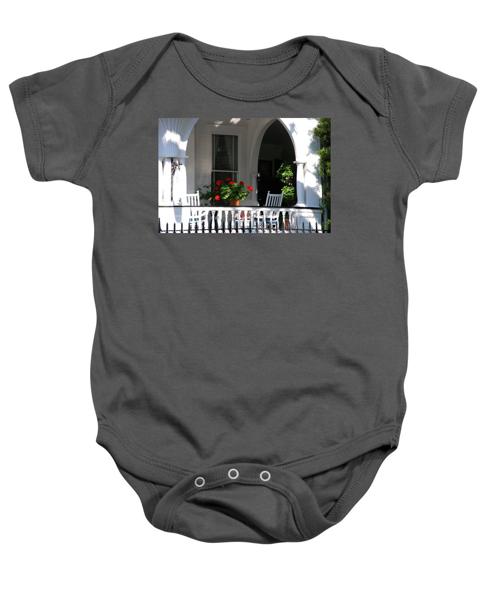 Flowers Baby Onesie featuring the photograph It's Tea Time Now by Susanne Van Hulst