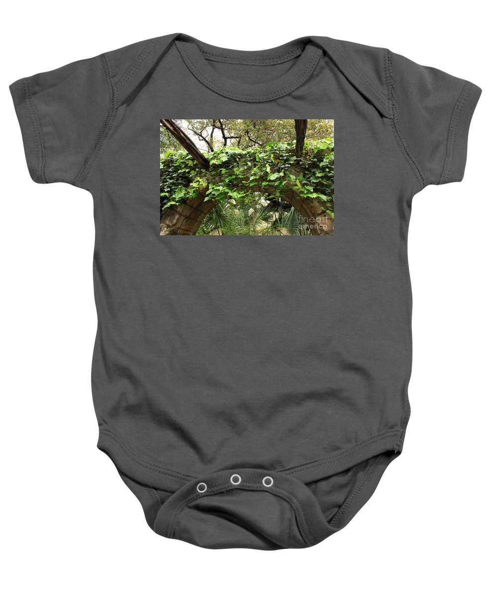 Ivy-covered Baby Onesie featuring the photograph Ivy-covered Arch At The Alamo by Carol Groenen