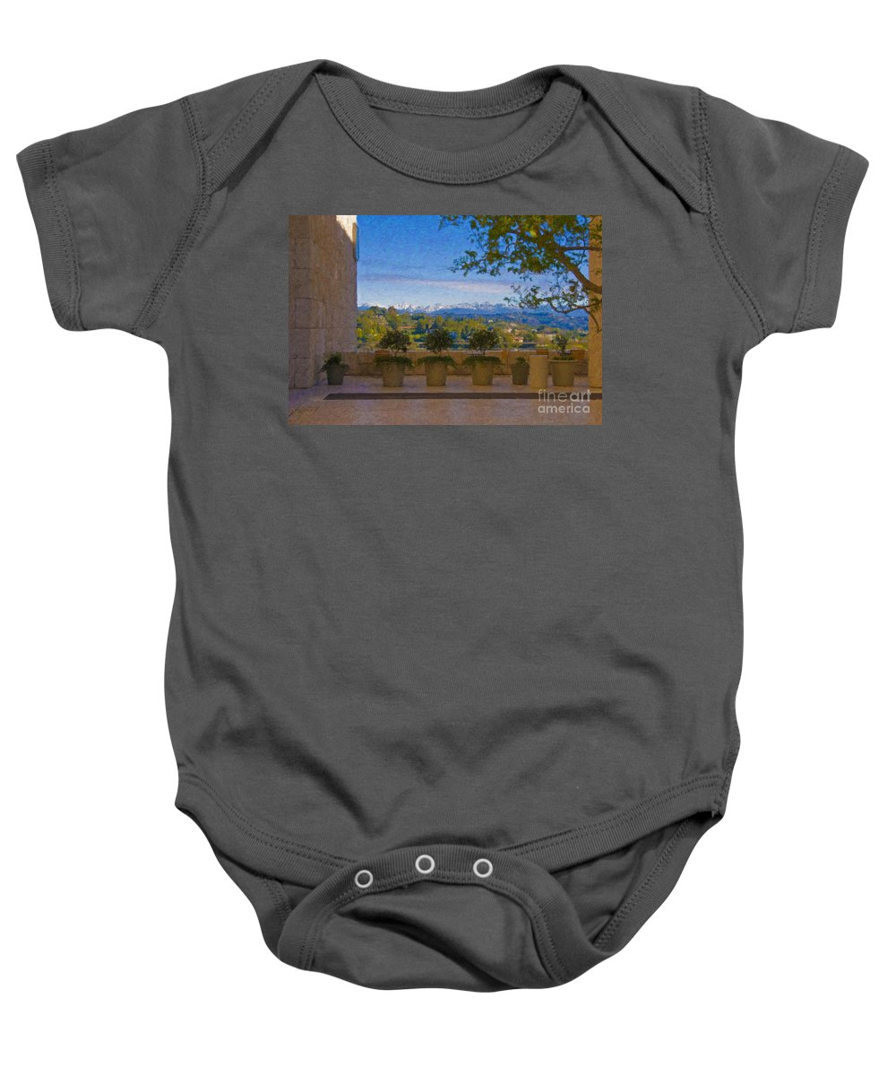J Paul Getty Center Museum Terrace Baby Onesie featuring the photograph J Paul Getty Center Museum Terrace by David Zanzinger