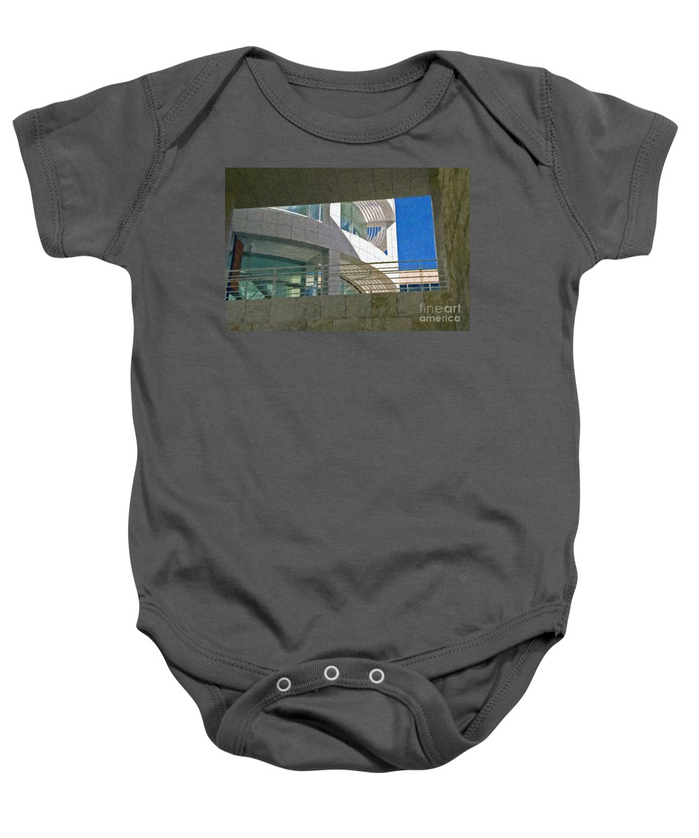 J. Paul Getty Museum Los Angeles Ca Administration Building Abstract View Baby Onesie featuring the photograph J. Paul Getty Museum Abstract View by David Zanzinger