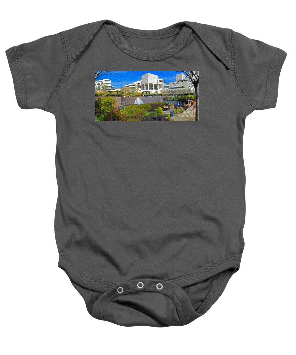 J Paul Getty Baby Onesie featuring the photograph J. Paul Getty Museum Central Garden Panorama by David Zanzinger