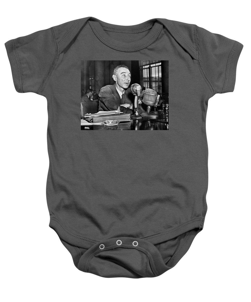 1949 Baby Onesie featuring the photograph J. Robert Oppenheimer by Granger