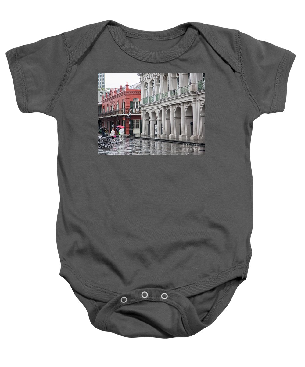 Jackson Square Baby Onesie featuring the photograph Jackson Square Rainy Day by Chuck Kuhn