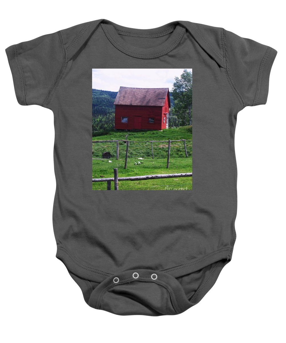 Photograph Newfoundland Jackson Cove Boat Grass Baby Onesie featuring the photograph Jackson's Cove by Seon-Jeong Kim