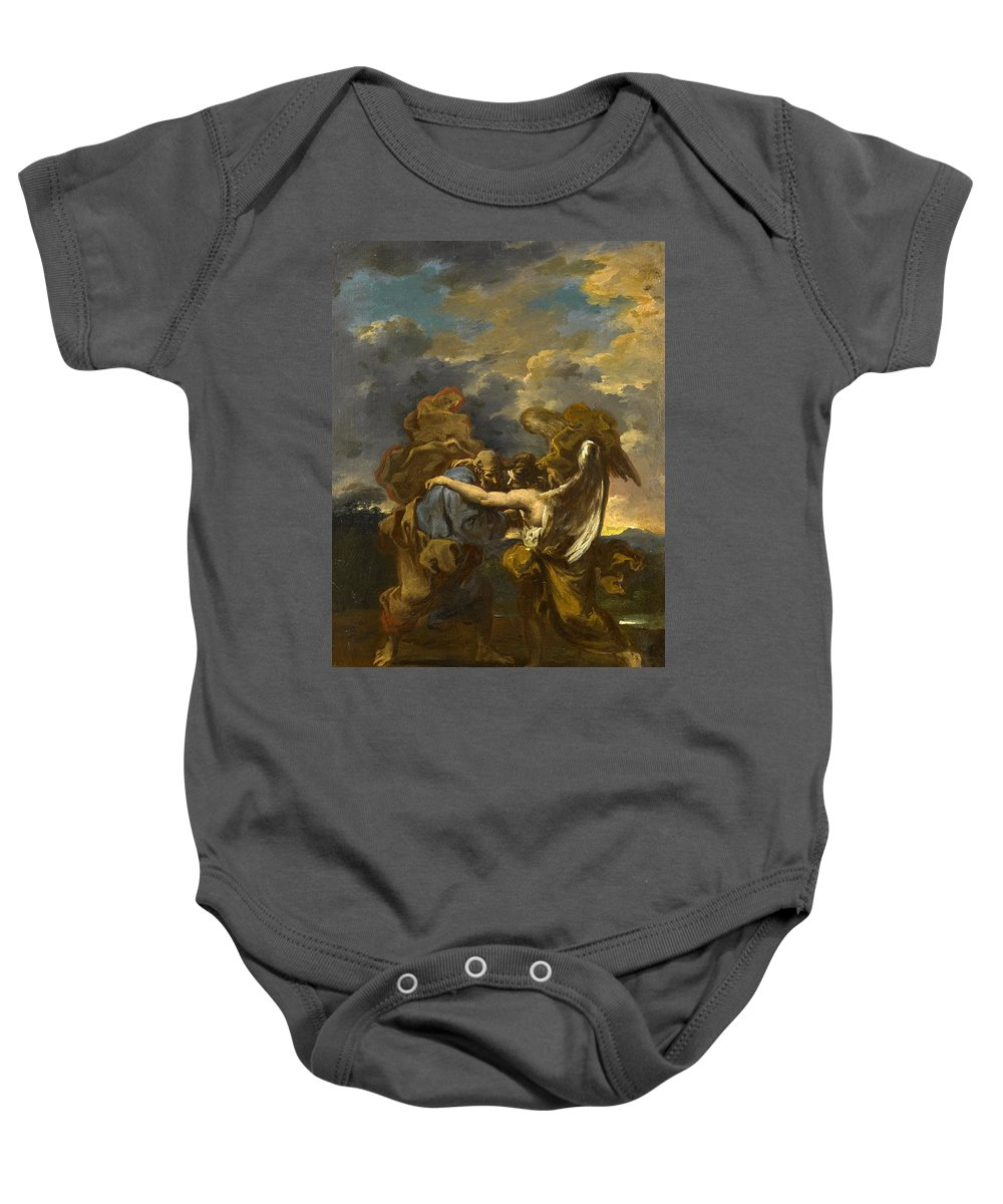 Alessandro Magnasco Baby Onesie featuring the painting Jacob Wrestling With The Angel by Alessandro Magnasco