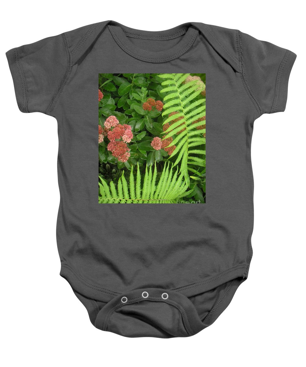 Nature Baby Onesie featuring the photograph Jacqueline's Garden - Camaraderie Of Textures Too by Lucyna A M Green