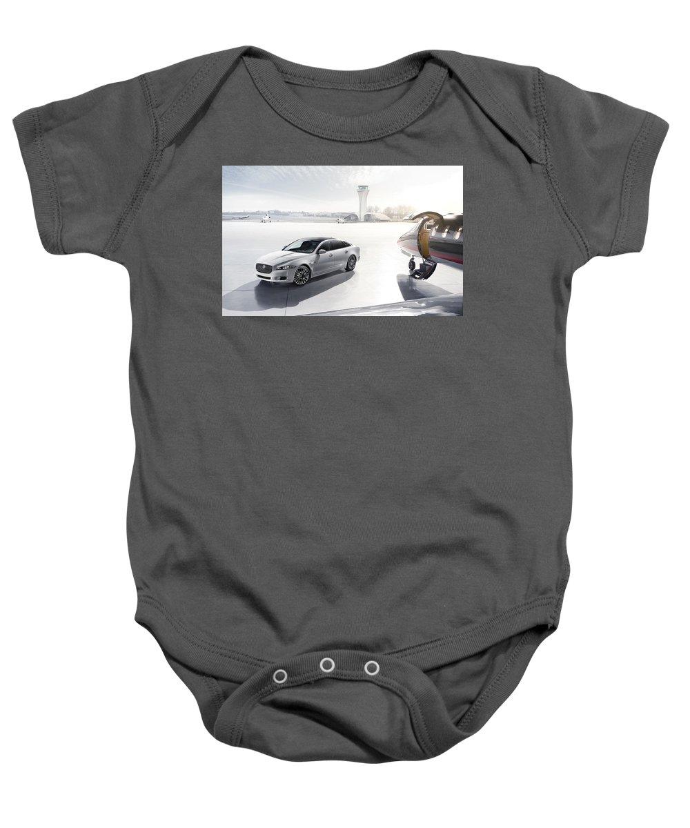 Baby Onesie featuring the digital art Jaguar Xj Ultimate 2013 by Alice Kent