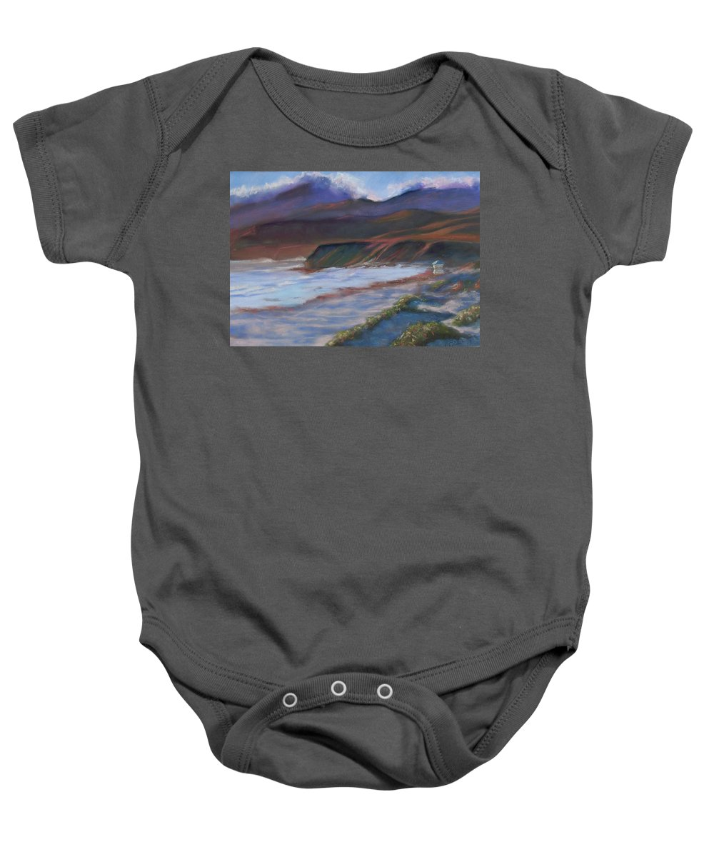 Jalama Beach. Baby Onesie featuring the pastel Jalama Beach At Sunset by Laurie Paci
